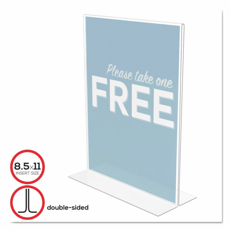 Deflecto Classic Image Stand-Up Double-Sided Sign Holder Plastic 8 1/2x11 Insert