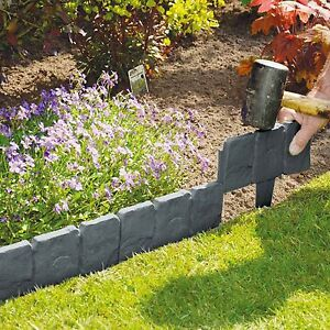 Garden Edging Grey Cobbled Stone Lawn Trees Path Way Fence Border Wall - 10 Pack