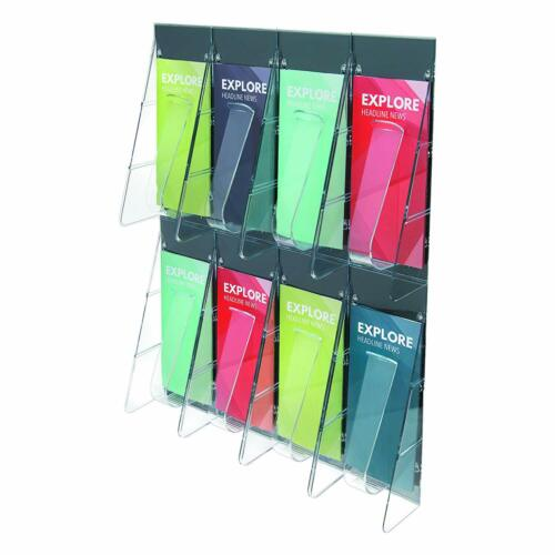 Deflecto 56201 Stand tall 1-piece literature rack for leaflets 8 pockets clear