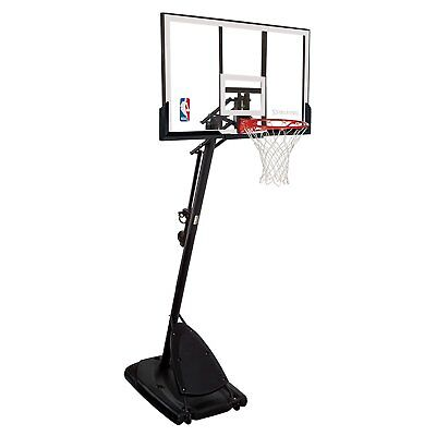 "Spalding 54"" Portable Basketball System Adjustable Hoop Backboard Net Pole"