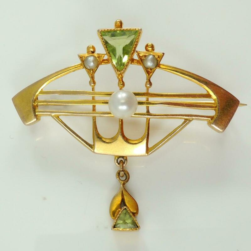 9ct Gold Antique Art Nouveau Peridot & Pearl Brooch