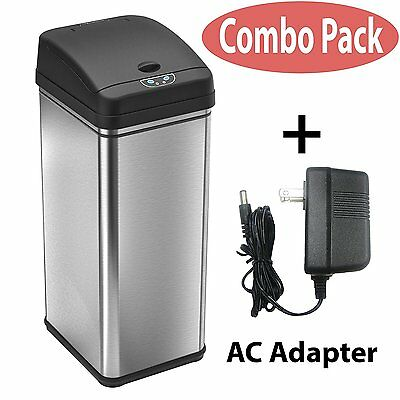 13 Gallon Automatic Sensor Touchless Deodorizer Trash Can Stainless Steel Pack-1