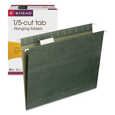 Smead Hanging Folders 15 Tab 11 Point Stock Letter Green 25box 64055