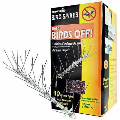 Bird Spikes Kit - Bird-X Stainless Steel Bird Spikes Kit, Covers 10 feet