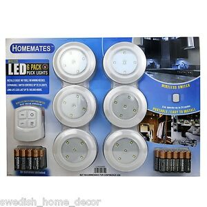 brand new led wireless puck lights with remote 6 pk batteries included. Black Bedroom Furniture Sets. Home Design Ideas