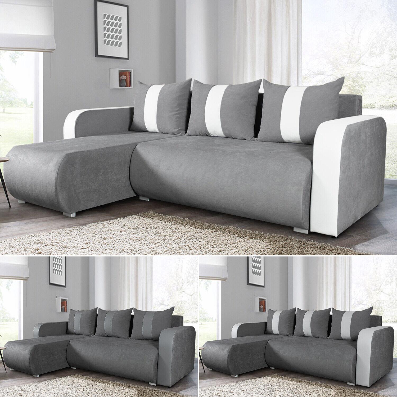 Ecksofa Rino mit Schlaffunktion und Bettkasten L-Form Couch Polsterecke