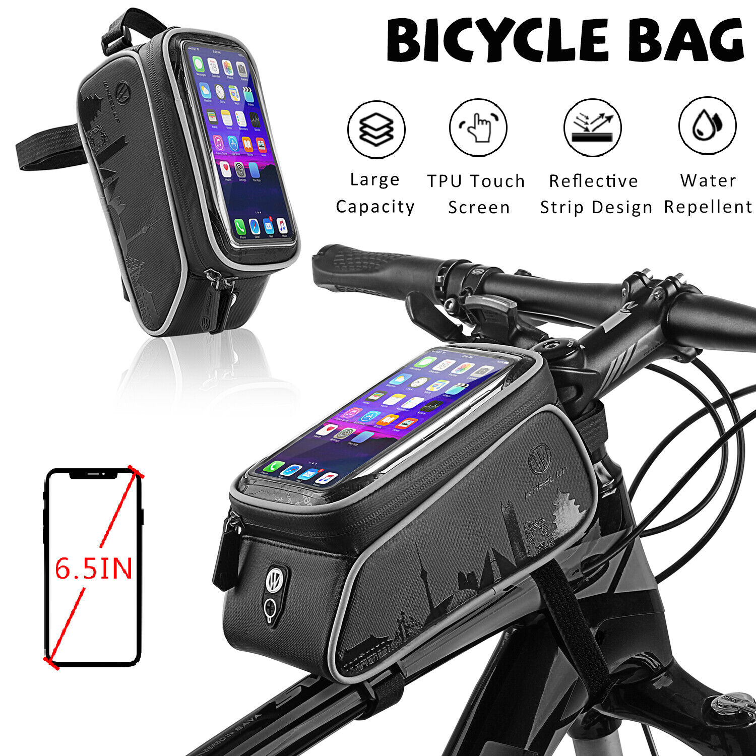 Screen Touch Bike Bicycle Front Frame Bag MTB Handlebar Cell