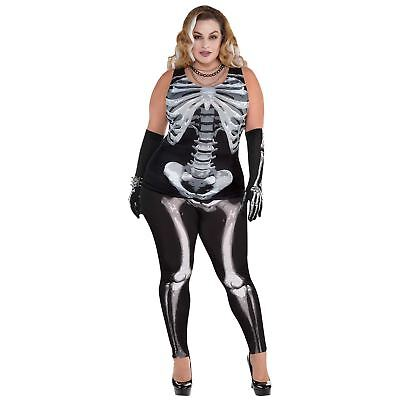 Black & Bone Skeleton Tank Top Size 18-20 Halloween Costume Fancy Dress](Womens Halloween Costumes Size 18-20)
