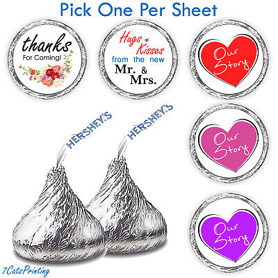 💖 108 Wedding Party Favors Hershey Kiss Candy Labels Stickers Venue