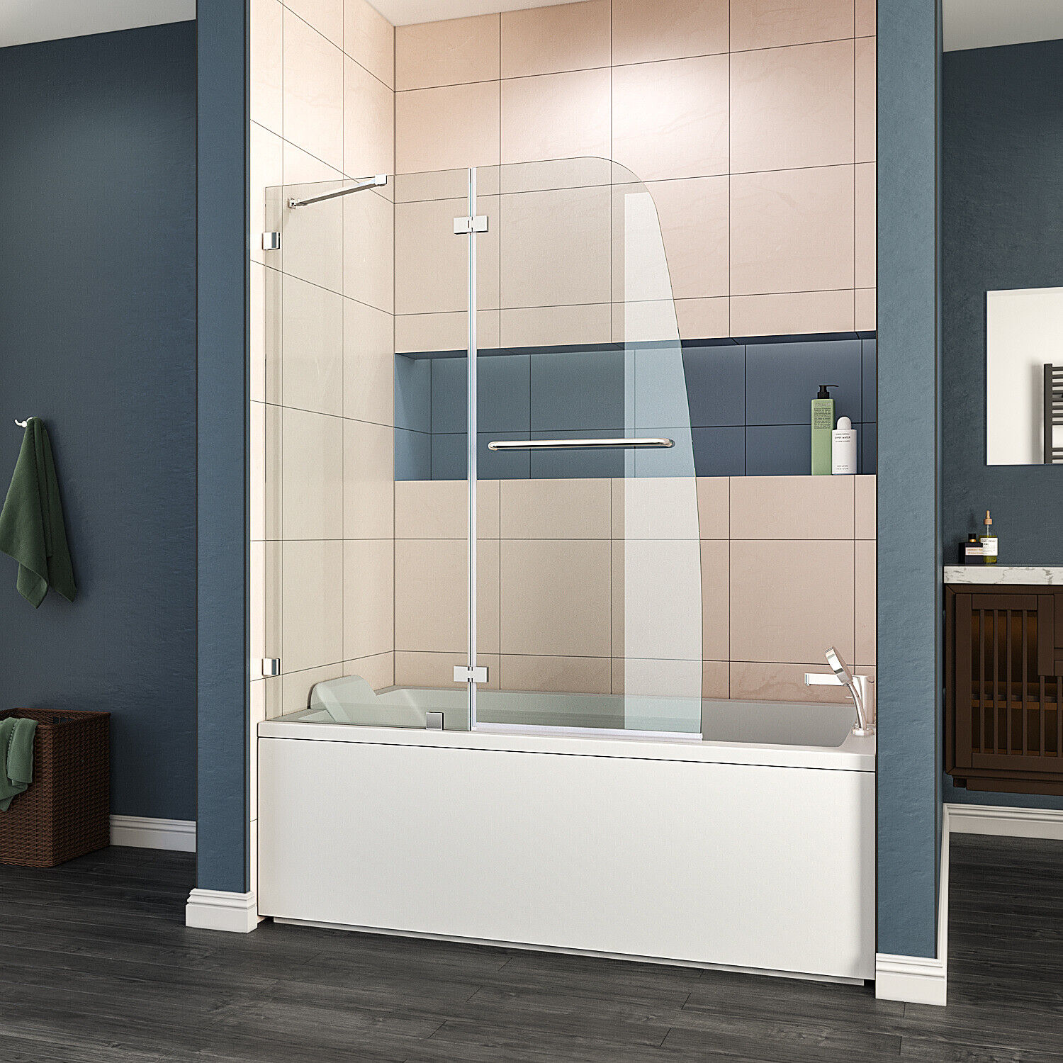 "ELEGANT 48""x58"" Bath Shower Door 5/16"" Clear Glass Pivot Rad"