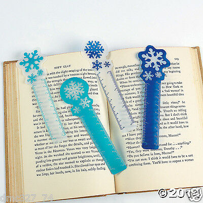 24 CHRISTMAS Winter or FROZEN Party Favor SNOWFLAKE Ruler BOOKMARKS