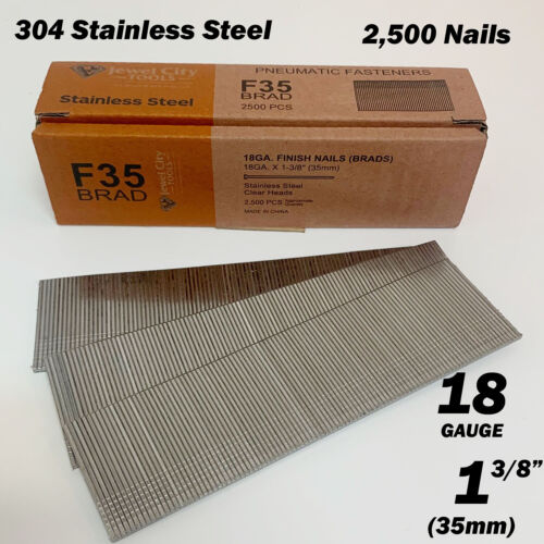 "2,500 Stainless Steel 18 Gauge 18Ga 1-3/8"" 35mm Brad Nails F35 18G 1 3/8 Inch SS"