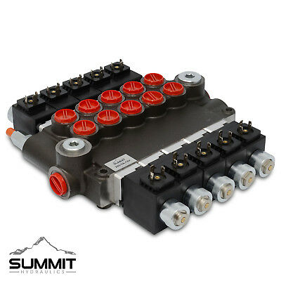 Hydraulic Monoblock Solenoid Directional Control Valve 5 Spool 21 Gpm 12v Dc