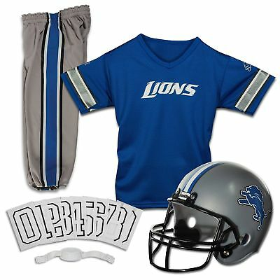 Detroit Lions Uniform Set Youth NFL Football Jersey Helmet Kids Costume Large Detroit Lions Youth Uniform