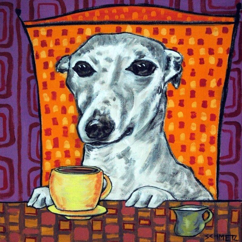 coffee art whippet dog print on ceramic TILE COASTER GIFT Modern folk JSCHMETZ