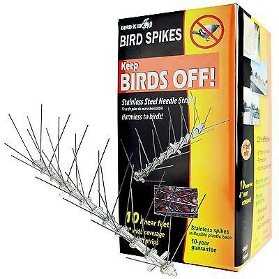 NEW Bird-X Stainless Steel Bird Spikes Kit, Covers 10 feet