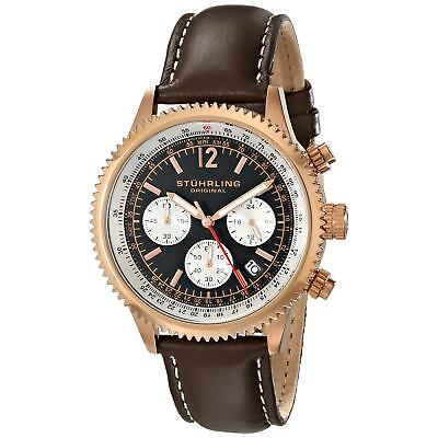 Stuhrling Monaco Men's 42mm Chronograph Brown Calfskin krysterna Watch 669.04