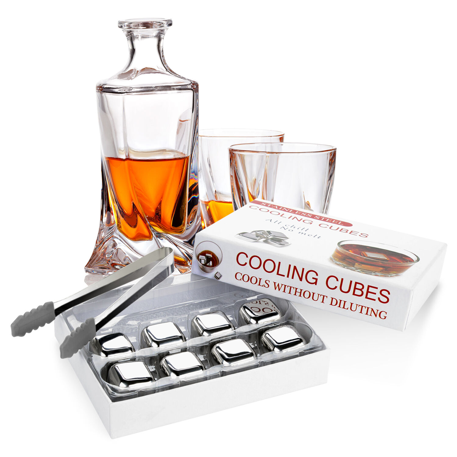 8x Edelstahl Cubes Stainless Ice Cubes Eiswürfel Mixgetränke Getränk ...