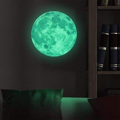 Homics Glow in The Dark Moon Wall Decals 30cm Luminous Nursery Sticker at Night,
