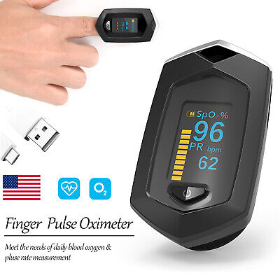 Fingertip Pulse Oximeter Blood Oxygen Meter Spo2 Heart Rate Monitor Rechargeable