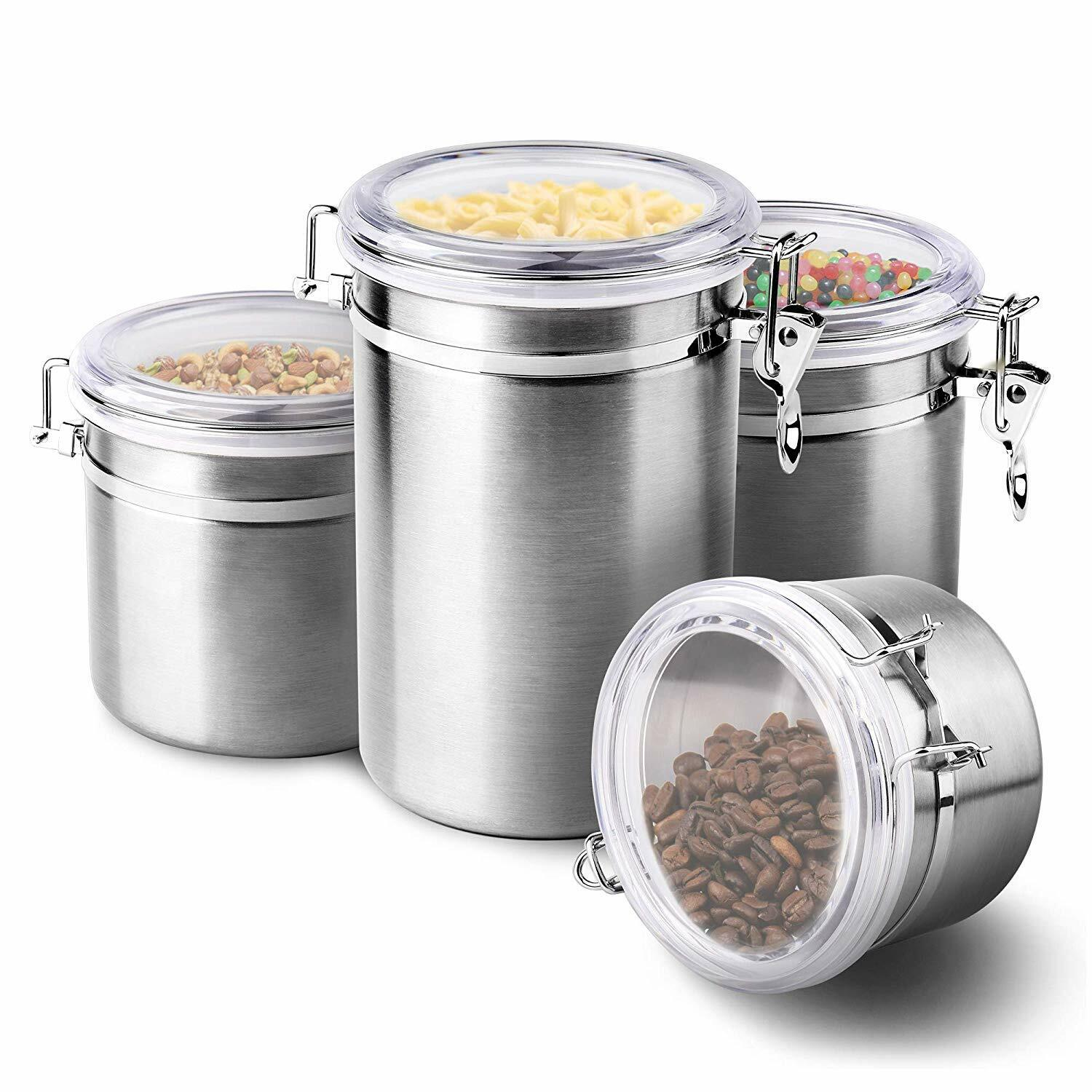 4-Piece Stainless Steel Airtight Canister Set, Food Storage