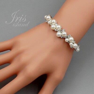 Clear Bead Rhinestone Bracelet - Cute Glass Pearl Clear Crystal Rhinestone Wedding Prom Bangle Bracelet 04163