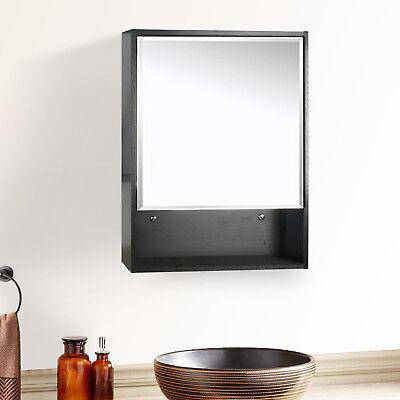 "22"" Bathroom Medicine Cabinet Black Wood Adjustable Shelf Mirror Wall Mount"