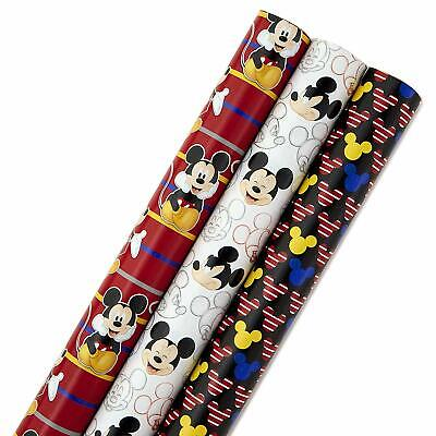 Hallmark Disney Mickey Mouse Wrapping Paper with Cut Lines Pack of 3, 105 sq ()