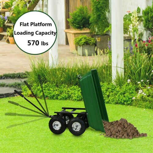 Garden Yard Dump Cart Dumper Wagon Carrier Wheel Barrow Heavy Duty Outdoor Tool