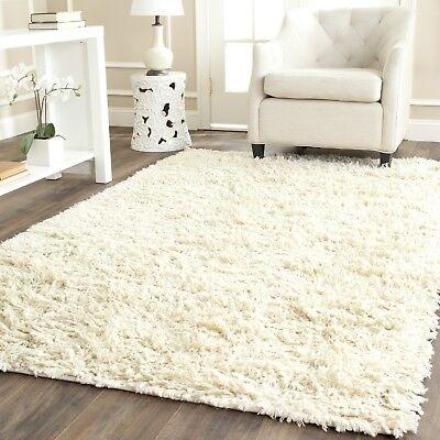 Safavieh Hand-Tufted IVORY Plush Shag Wool Area Rugs - - Plush Wool Area Rugs