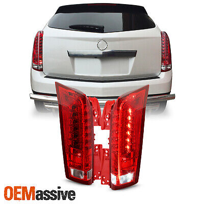 For 2010-2016 Cadillac SRX LED Running Reverse Chrome Red Clear Tail Lights Pair