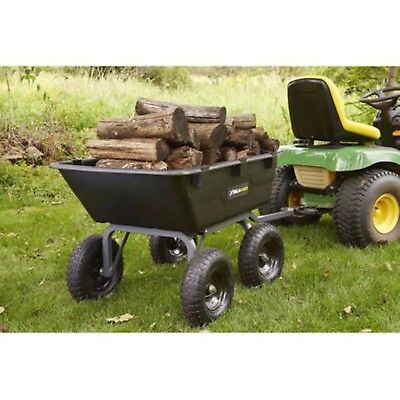 Lawn Tractor Yard Dump Cart Garden Wagons Utility Wheelbarrow Trailer Lawn Mower