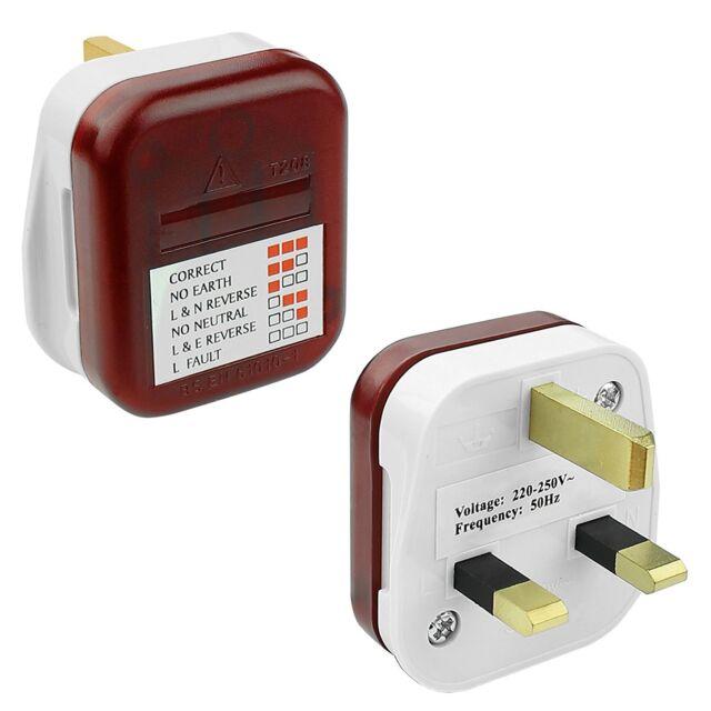 UK Mains Test Power Plug in Trailing Socket Tester Wiring Safety ...