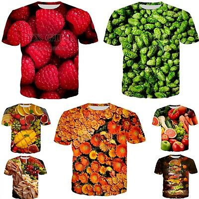 Fruits Food funny 3D print womens/mens Short Sleeve T-Shirt Casual Tops S-5XL