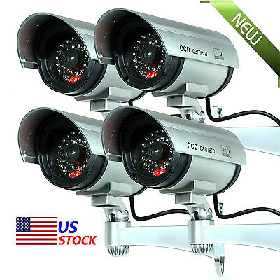 4 Pack IR Bullet Fake Dummy Surveillance Security Camera CCTV & Record Light NEW