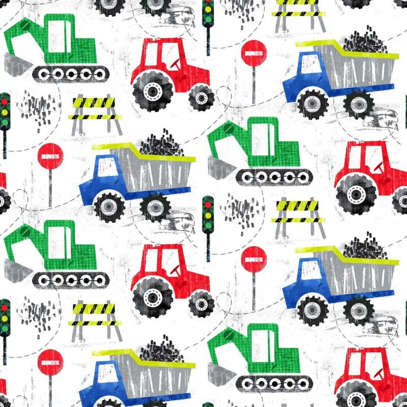 Equipment Trucks Prints White Comfy Cotton Flannel Fabric By The Yard