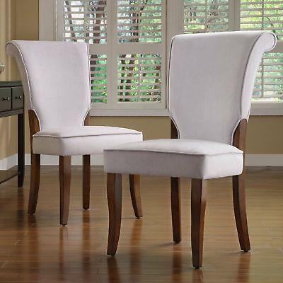 Light Gray Velvet Dining Chair Set Of 2 Side Chairs Cherry Finish Wood Frame Leg