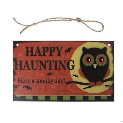 Happy Halloween Owl Wooden Hanging Plaque Board Wall Sign Door Home Decoration](Happy Halloween Door Sign)