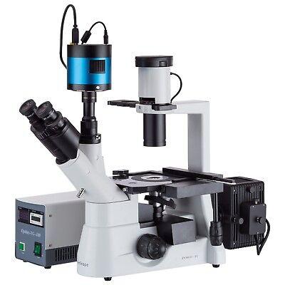 Amscope 40x-400x Inverted Plan Fluorescence Microscope Ccd Low-light Camera