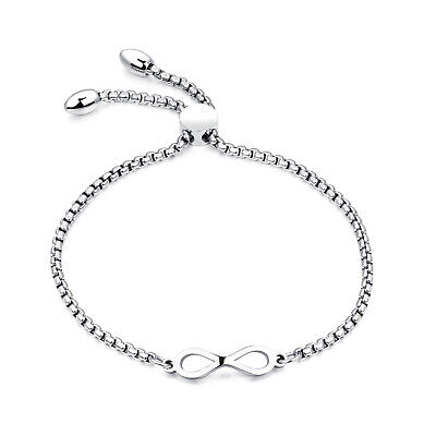 Edelstahl Damen Armband UNENDLICHKEITSZEICHEN Armkette silber Venezianerkette