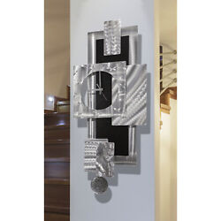 Modern Functional Wall Clock w Pendulum, Funky Silver/Black Wall Art Sculpture