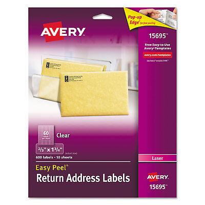 Avery Clear Easy Peel Return Address Labels Laser 23 X 1 34 600pack 15695