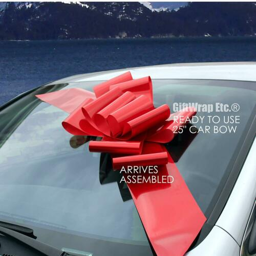 "Big Red Car Bow Ribbon - 25"" Wide Fully Assembled, Christmas Valentine"