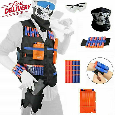 Nerf Vest Kids Tactical Foam Darts Mask Glasses Kit Set For Nerf N-Strike Gun 7G