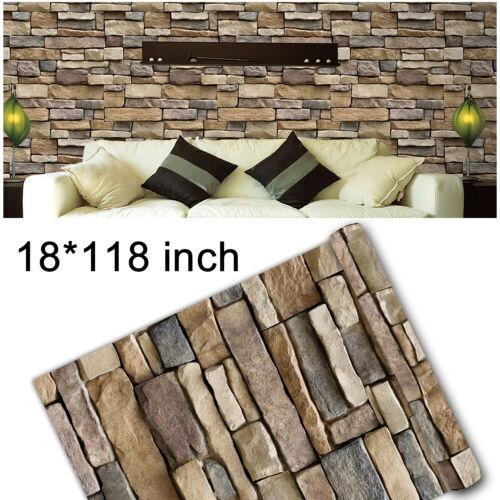 3D Stone Brick Rock Wallpaper Self-adhesive Wall Sticker Peel & Stick Vinyl Film