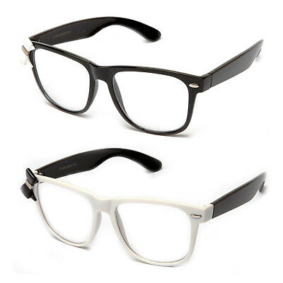 Clear Lens Glasses Elegant Bow Tie Black & White Frame Nerdy Thick (Thick Nerdy Glasses)