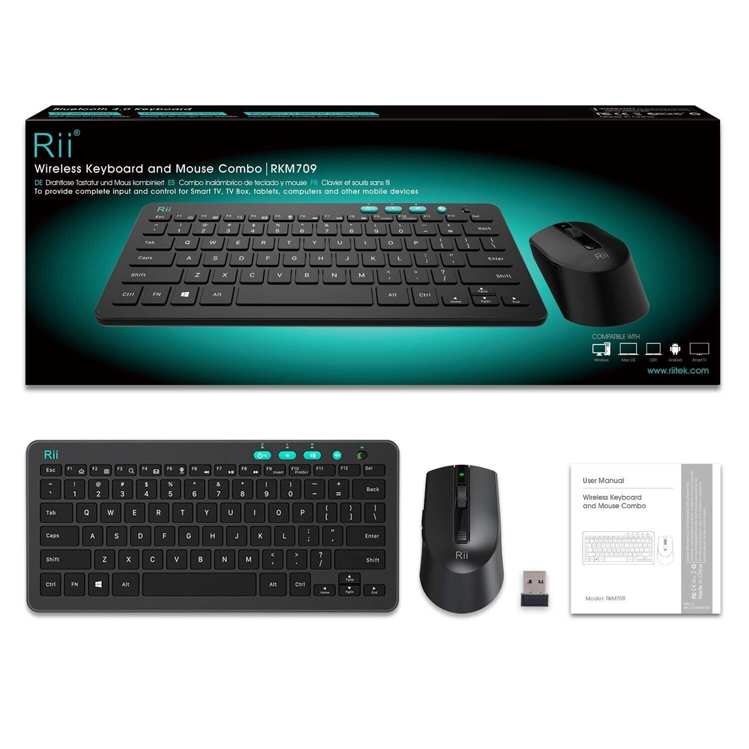 Slim Wireless Keyboard and Mouse Compact Multimedia PC Lapto