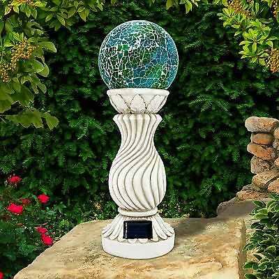 Solar Powered Mosaic Ball on Column Outdoor Garden Light Decoration Ornament New