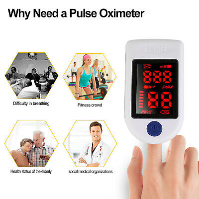 Finger Tip Pulse Oximeter Blood Oxygen Meter Spo2 Heart Rate Monitor Detector