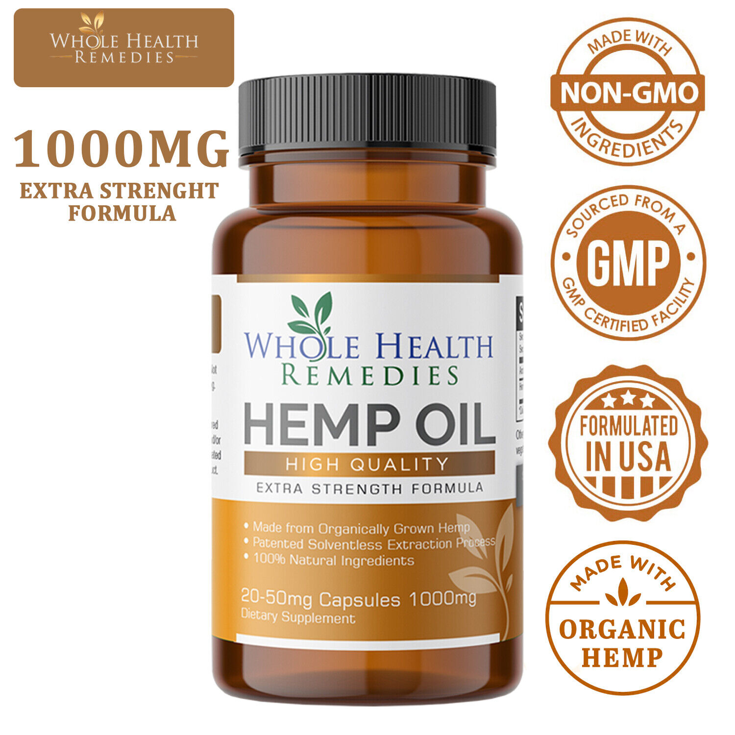 Pharmaceutical-Grade Hemp Oil Capsules for Pain & Stress Relief and Insomnia